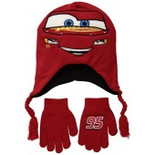 Disney Little Boys' Cars 3 Lightning McQueen Winter Beanie and Glove Set, Red, One Size