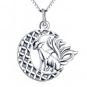 Angel caller 925 Sterling Silver Fox Moon Pendant Necklace with 18