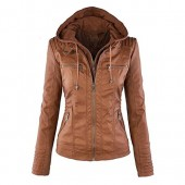 Seamido Women Hooded Faux Leather Coat Motorcycle Jacket