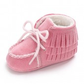 Meeshine Infant Baby Girl Boys Lace Up Sneakers Slip-On Moccasins Fur Soft soled Anti-Slip Slippers Toddlers Crib Shoes
