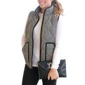 Dearlove Women's Slim Lightweight Zip Up Quilted Herringbone Puffer Vest with Pockets