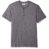 Lacoste Men's Short Sleeve Plain Slubbed Jersey Tee with Textured Effect
