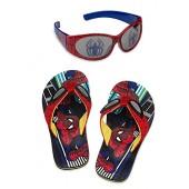 Disney Store Spider-Man Flip Flop Sandals and Sunglasses Set