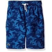 Lacoste Boys' Palm Tree Print Swim Suit