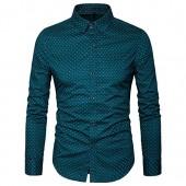 MUSE FATH Men's Printed Dress Shirt-100% Cotton Casual Long Sleeve Shirt-Regular Fit Button Down Point Collar Shirt
