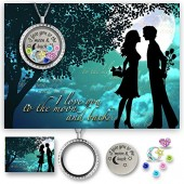 Beautiful Jewelry Gifts Locket Necklace & Card Set for Mom & Grandma- I Love You To The Moon And Back