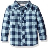 Rosie Pope Baby Boys' Flannel Shirt with Chambray Patches