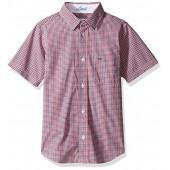Lacoste Boys' Short Sleeve Check Woven Shirt