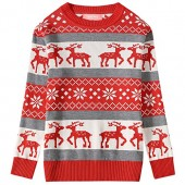 Camii Mia Big Girls' Reindeer Pullover Crewneck Ugly Christmas Sweater