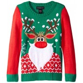 Blizzard Bay Girls' Bearded Rudolph Christmas Sweater