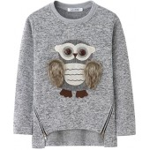 AuroraBaby Little Big Girls Sweatshirts Adorable Fuzzy Owl Pullover Long Sleeve Lining Fleece