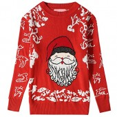 Camii Mia Big Girls' Funny Santa Claus Pullover Crewneck Ugly Christmas Sweater