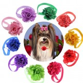 Yagopet 10pcs/pack Valentine's Day Cat Dog Bow Ties Flower Ball with Tulle Dog Bowties Collar Festival Puppy Cat Dog Ties Dog Grooming Accessories