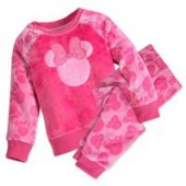 Minnie Mouse Glitter Bow Fleece PJ Set For Girls