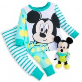 Mickey Mouse PJ PALS and Plush Rattle Set for Baby