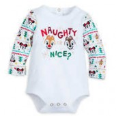 Chip, Dale, Santa Mickey, and Minnie Mouse Naughty or Nice? Long Sleeve Bodysuit for Baby