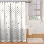 Minnie Mouse Gold Dots Shower Curtain