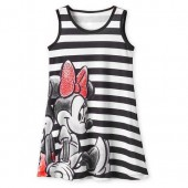 Mickey and Minnie Mouse Striped Dress for Girls - Black