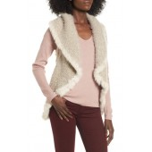 Knit Vest with Genuine Rabbit Fur Trim