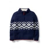 Quarter-Zip Pullover Wool Sweater