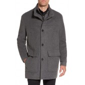Wool Blend Topcoat with Inset Bib