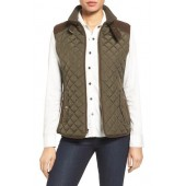 Quilted Vest with Faux Suede Trim