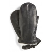 Genuine Rabbit Fur Lined Leather Mittens