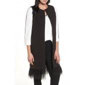 Faux Feather Trim Long Vest