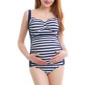 Stripe One-Piece Maternity Swimsuit