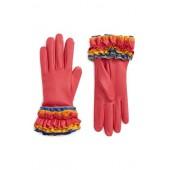 Ruffle Lambskin Leather Gloves