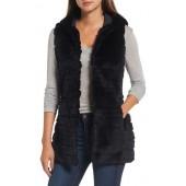 Genuine Rabbit Fur Hooded Vest