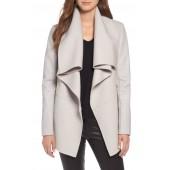Vane Asymmetrical Leather Sleeve Coat