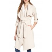 Roll Sleeve Drape Front Long Trench Coat