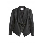 Gabrielle Faux Leather Asymmetrical Jacket