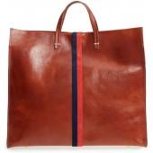 Rustic Simple Stripe Leather Tote