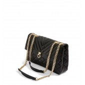 Panther Quilted Faux Leather Shoulder Bag