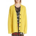 Oversize Cable Knit Merino Wool Cardigan