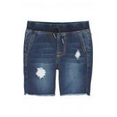 Knit Cutoff Denim Shorts