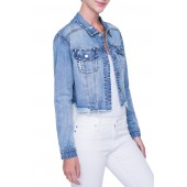 Crop Raw Edge Denim Jacket