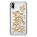 Shimmer Metallic Floral Transparent iPhone X Case