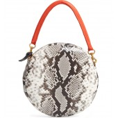Python Embossed Leather Circle Clutch