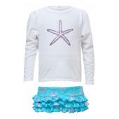 Starfish Two-Piece Long Sleeve Ruffle Swimsuit