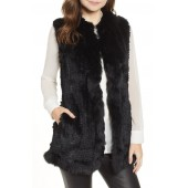 Genuine Rabbit Fur Vest with Genuine Fox Fur Trim