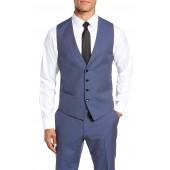 Huge/Genius Trim Fit Solid Three Piece Wool Suit