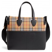 Kingswood Vintage Check & Leather Diaper Tote