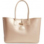 Roseau Metallic Leather Shoulder Tote