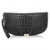 Sandrine Croc Embossed Leather Clutch