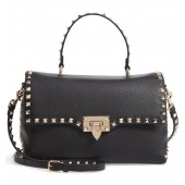 Rockstud Leather Top Handle Bag