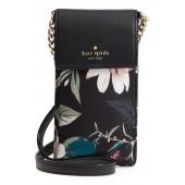botanical print leather phone crossbody bag