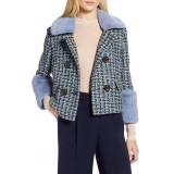 x Atlantic-Pacific Tweed Jacket with Removable Faux Fur Trim
